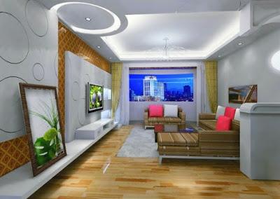 desain plafon ruang keluarga modern