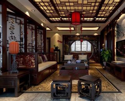 gambar plafon ruang keluarga khas cina