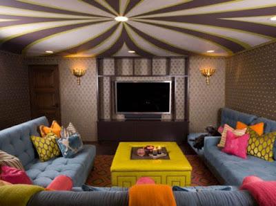 model plafon ruang keluarga unik